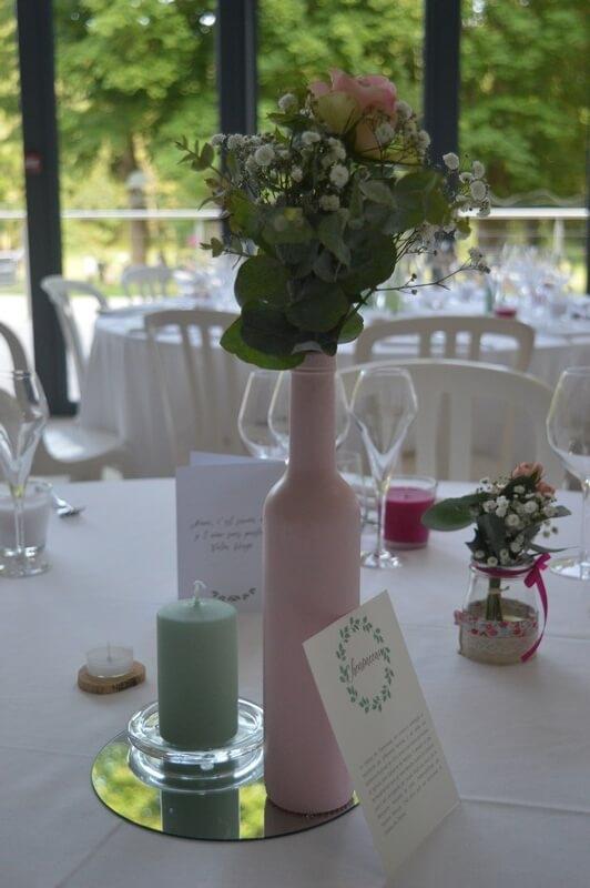 MonaLisa wedding planner tours 37 organisation mariage décoration table hotel noble vernou bouteille rose pastel eucalyptus