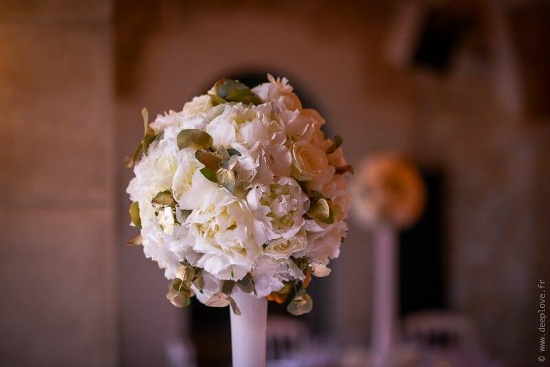 MonaLisa wedding planner tours 37 art hotel rochecorbon organisation mariage décoration table fleurs blanc et or