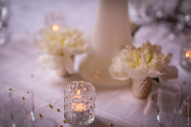 MonaLisa wedding planner tours 37 organisation mariage thème blanc et or fleurs et photophores